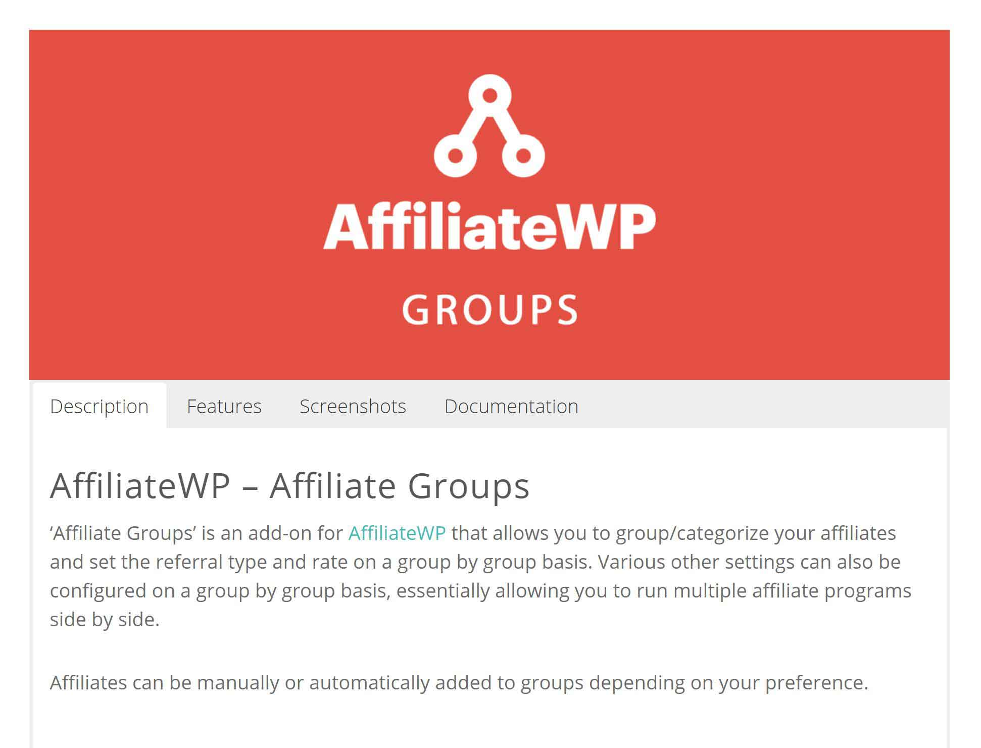 AffiliateWP – Affiliate Groups